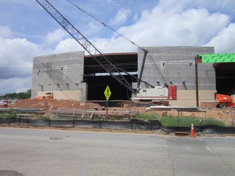 construction on new mooresville high school auditorium for arts and music